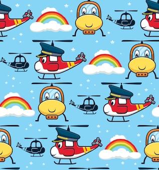 조종사 모자를 쓰고 웃는 헬리콥터 만화의 원활한 패턴 벡터