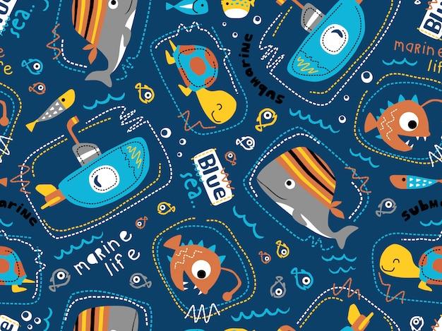海の動物漫画と潜水艦のシームレスなパターンベクトル。
