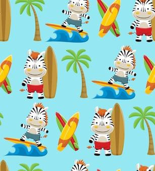 Бесшовный узор вектор серфинга на пляже с забавным мультфильмом зебры