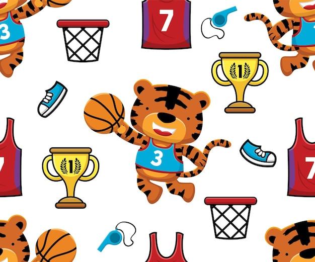 농구 요소와 농구를 하는 호랑이의 원활한 패턴 벡터