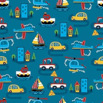 交通機関の漫画のシームレスなパターンベクトル