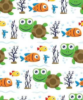 거북이, 물고기, 수중 해마의 원활한 패턴 벡터