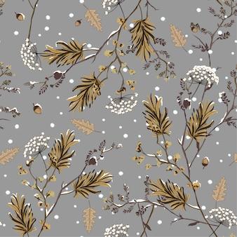 정원 꽃에서 겨울 눈의 원활한 패턴 벡터