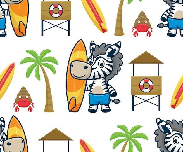 해변에서 서핑 보드를 들고 있는 얼룩말 만화의 원활한 패턴 벡터, 인명 구조원 포스트, 야자수, 소라게