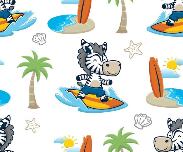 여름 해변 휴가 요소 만화와 함께 서핑하는 얼룩말의 원활한 패턴 벡터