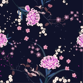 Seamless pattern vector oriental garden flower