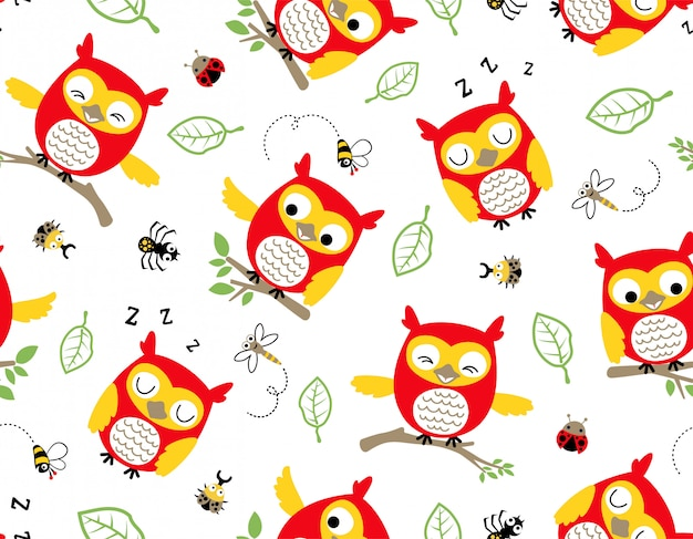 Seamless pattern vector of owl cartoon with bugs
