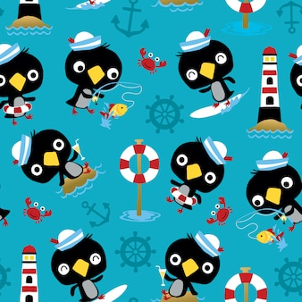 Seamless pattern vector of penguin sailor cartoon activies