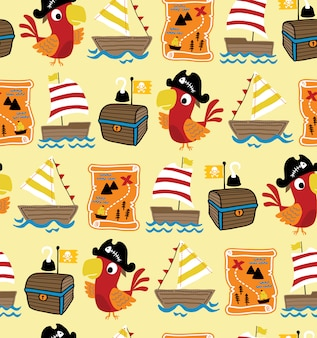 Seamless pattern vector of pirate theme cartoon with funny cockatoo