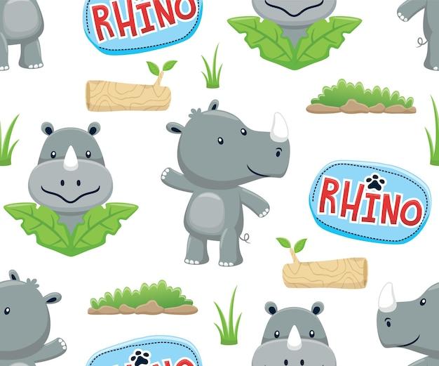 Seamless pattern vector of rhino cartoon illustration
