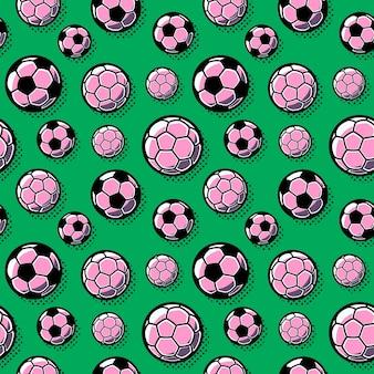 シームレスなパターン。緑の背景にサッカーボールをベクトルします。
