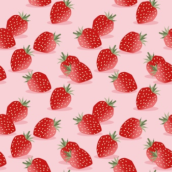 Seamless pattern vector of strawberry on pink.