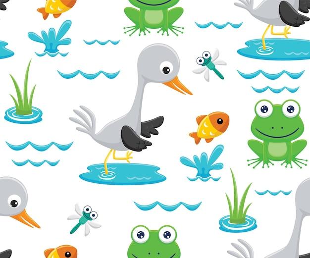 Seamless pattern vector of swamp cartoon animals