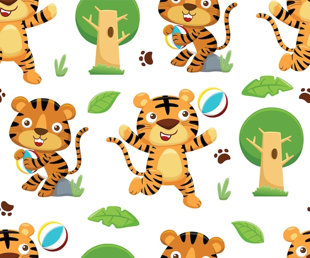 Seamless pattern vector of tiger cartoon playing ball with trees and leaves