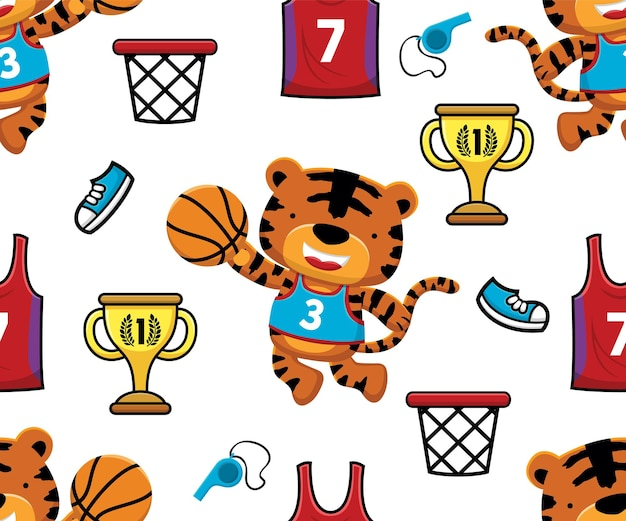 Seamless pattern vector of tiger playing basketball with basketball elements