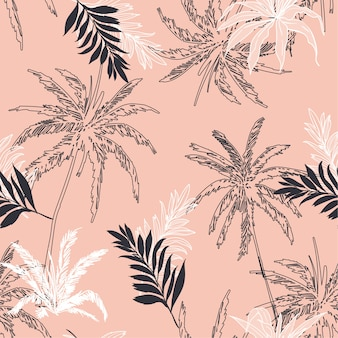 Seamless pattern vector tropical jungle palm leaves,
