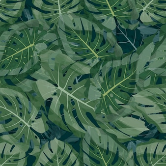 Seamless pattern vector tropical leaf background green