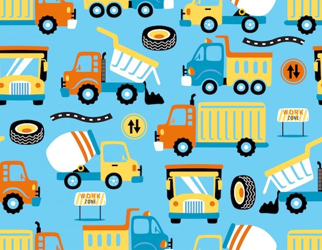 Seamless pattern vector of trucks cartoon with traffic signs