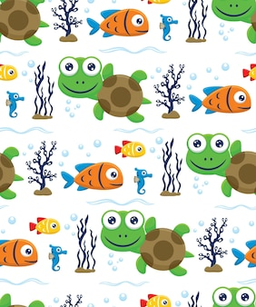 Seamless pattern vector of  turtle, fishes, seahorse underwater