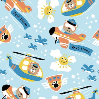 Seamless pattern vector with air transportation cartoon with funny pilots