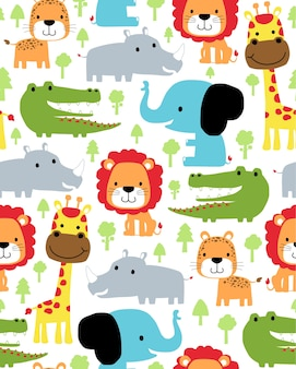 Seamless pattern vector with animals cartoon