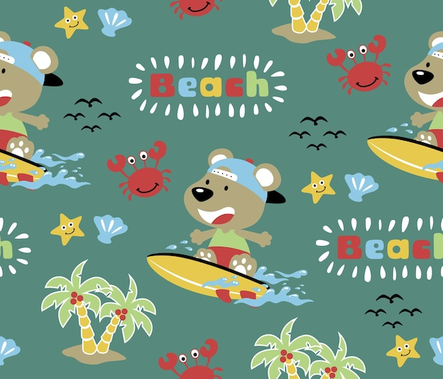 Seamless pattern vector with beach sport, funny surfer