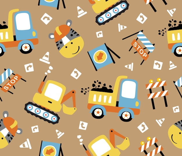 Seamless pattern vector with construction equipment, funny worker head