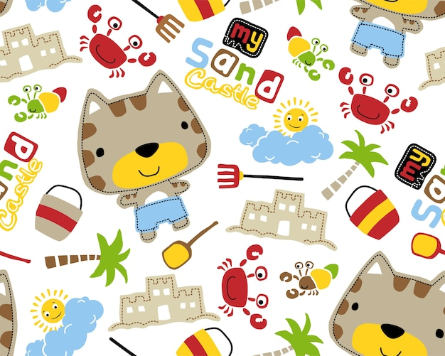 Seamless pattern vector with cute animals in the beach