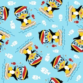 귀여운 펭귄과 원활한 패턴 벡터