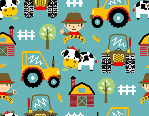 Seamless pattern vector with farmyard theme cartoon