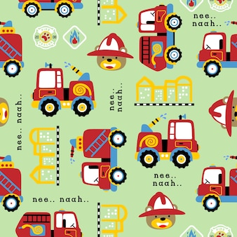 Seamless pattern vector with firefighter team, funny fireman, building, fire logo