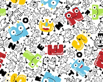 Seamless pattern vector with funny alphabet monsters