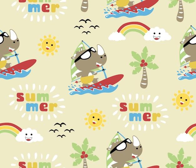 夏に面白い動物サーフィンとシームレスなパターンベクトル