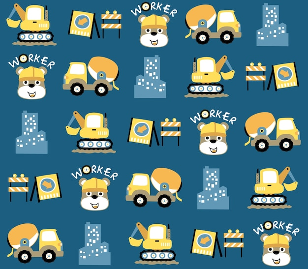 Seamless pattern vector with funny animal worker and construction equipment cartoon