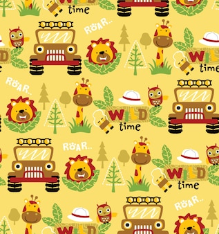 Seamless pattern vector with funny animals and car, ranger equipment