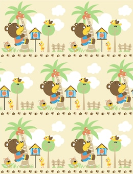 Seamless pattern vector with funny animals in the garden