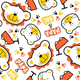 Seamless pattern vector with funny animals head on white background