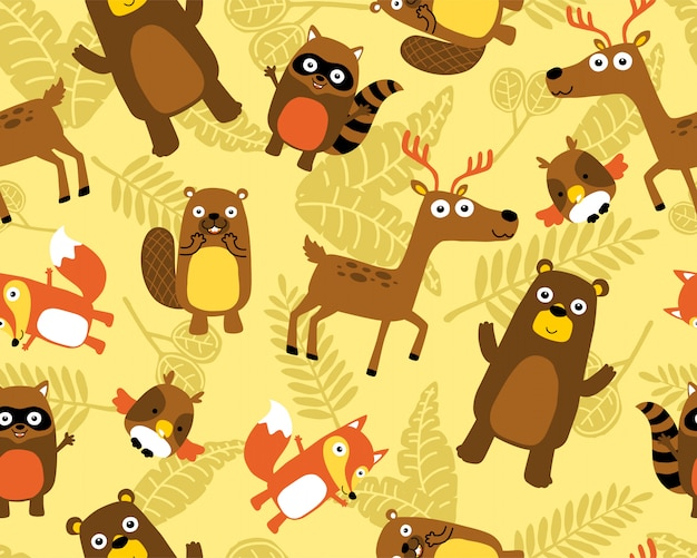 Seamless pattern vector with funny animals