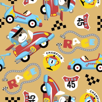 Seamless pattern vector with funny car racer