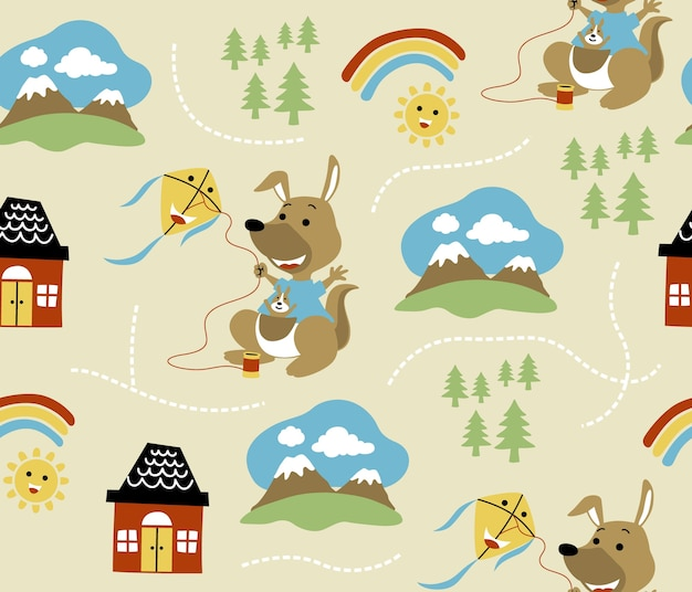 Seamless pattern vector with funny kangaroo playing kite, home, mountain, sun, rainbow, pi