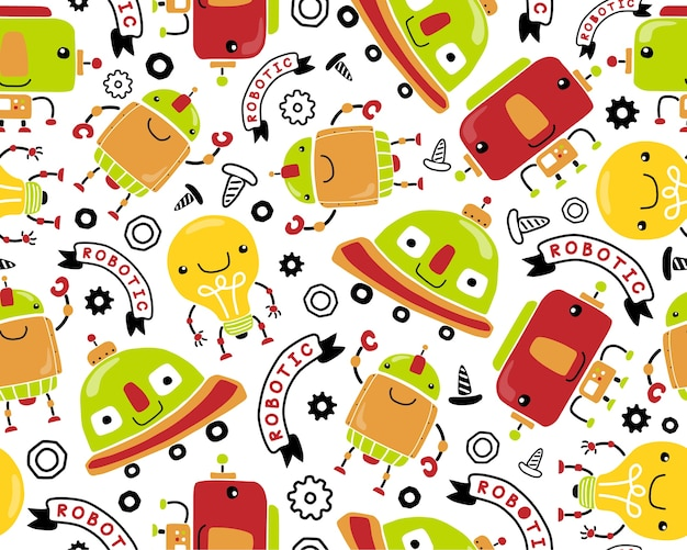 Seamless pattern vector with funny little robots cartoon