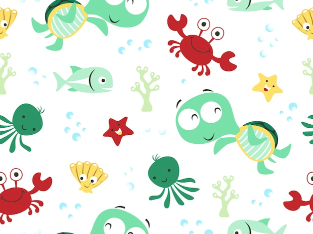 Seamless pattern vector with funny marine animals
