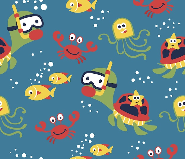 Seamless pattern vector with funny marine life