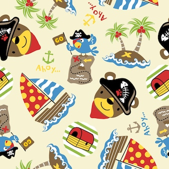 Seamless pattern vector with funny treasure hunter