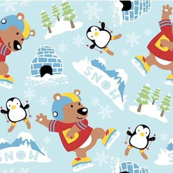 귀여운 동물들과 함께 얼음이나 눈 스포츠와 원활한 패턴 벡터