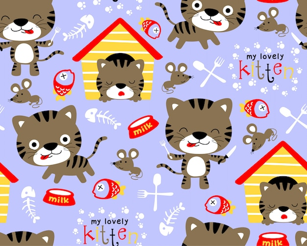 Seamless pattern vector with kittens cartoon