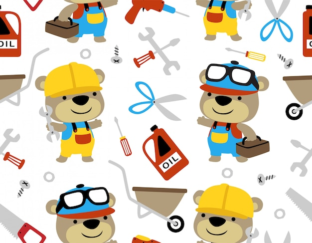 Seamless pattern vector with liitle bear cartoon