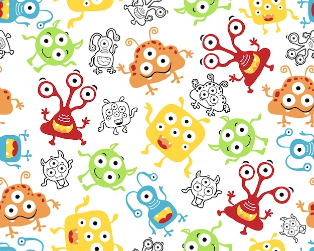 Seamless pattern vector with little monsters cartoon