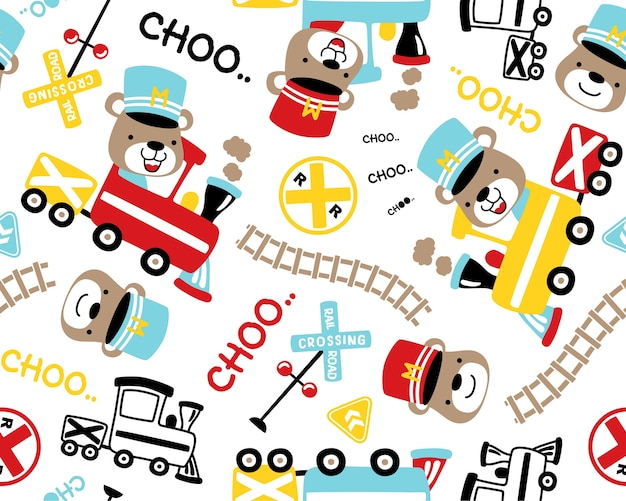 Seamless pattern vector with locomotive theme set cartoon.