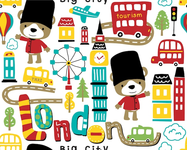Seamless pattern vector with london city cartoon